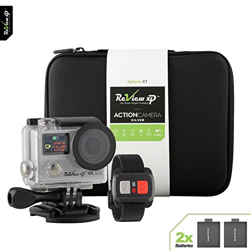 Review XP 4K Wi-Fi Waterproof Sports Action Camera 12MP 25fps HD Video Underwater Camcorder 170° Wide Angle Dual Screen 2 Batteries Accessories Kit Carrying Case Remote Control - Silver