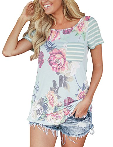 MEROKEETY Womens Floral Striped Sleeve product image