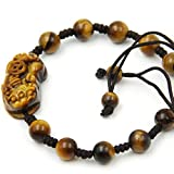Hand Crafted Adjustable Tiger Eye Beads Fortune Pixiu Dragon Bracelet