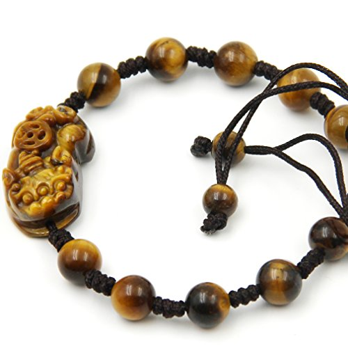 Hand Crafted Adjustable Tiger Eye Beads Fortune Pixiu Dragon Bracelet
