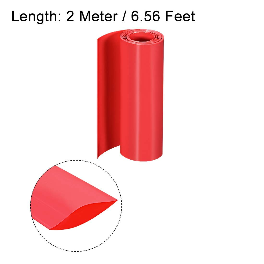 PVC Shrink Tube 150 mm Flat Width Double Layer Wrapper 18650 2 Meters red