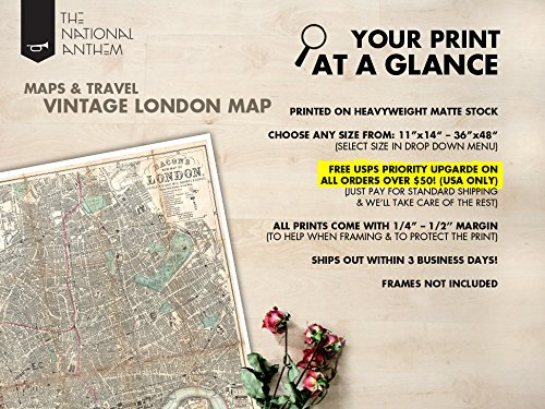 Amazon Com London Map Poster Antique Map Of London 1890 Map Of London Home Decor London Map Wall Art London Map Poster Giant London Map Poster