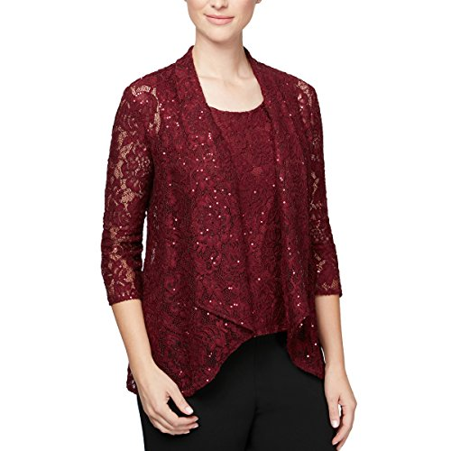Alex Evenings Women's Printed Twinset with Tank Top and Jacket, Wine, M (Set Twin Printed)