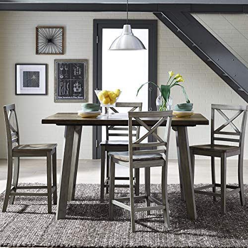 - Standard Furniture Fairhaven Counter Height Table and Four Chairs Set, Distressed Reclaimed Oak Plank Top, Grey Base