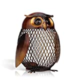 Tooarts Owl Shaped Metal Coin Bank Box Animal Ornament Handwork Crafting Art