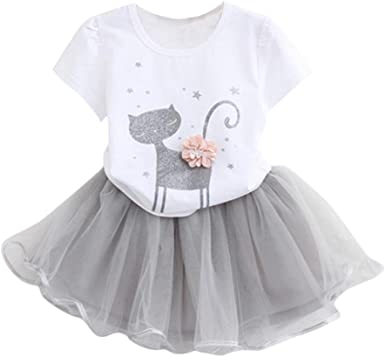 FAMILIZO Vestido de niñas, Verano Niñas Moda Dibujos Pequeño ...