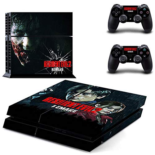(PS4 Console and 2 Controller Vinyl Skin Cover Set Protective Playstation 4 Gaming - Resident Evil 2 Game by Mr Wonderful Skin)