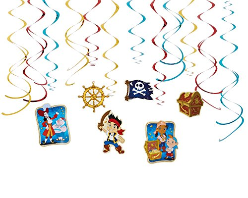Disney Jake and the Never Land Pirates Value Pack Foil Swirl Decorations, Party Favor