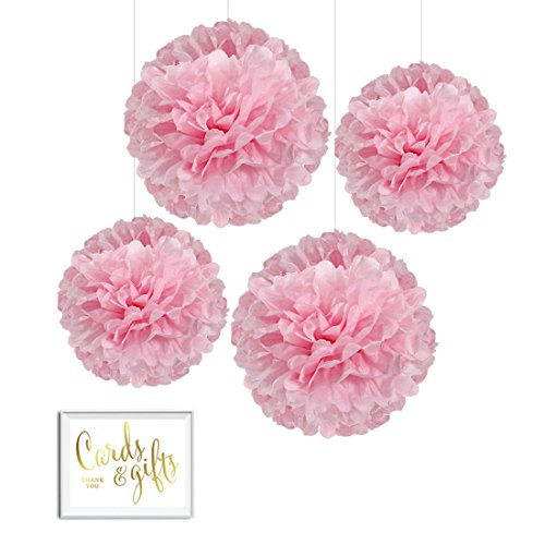 Free Baby Shower Cards (Andaz Press Tissue Paper Pom Poms Hanging Decorations with Free Gold Card & Gifts Party Sign, Blush Pink, 8-inch and 10-inch, 4-Pack, Girl Baby Shower Baptism Unicorn Colored Birthday Party)
