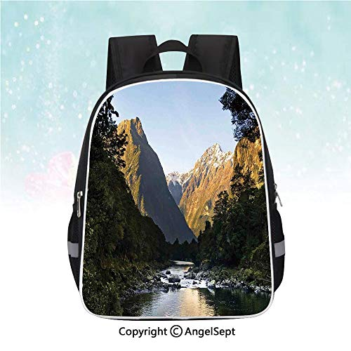 - Schoolbag for Kids,Photo of Stunning Mountains with Snowy Peaks and Valley with River Peace Nature,13