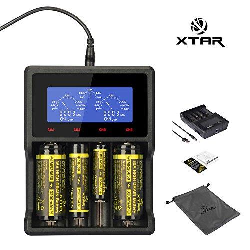 XTAR VC4 Ladegerät Premium-Li-Ion / Ni-MH Caloics® USB LCD Display Ladegerät Kompatibel mit Li-Ionen-Akku und Ni-MH-Akku