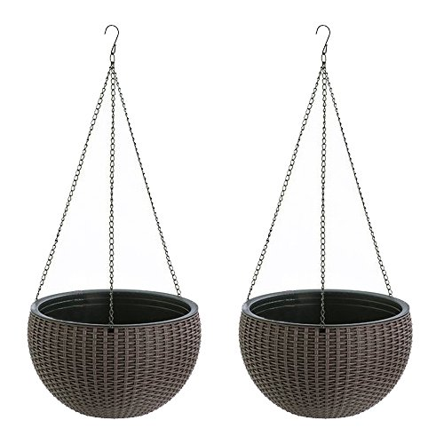 2 Pack Hanging Planter Basket Self Watering Indoor Outdoor 10 inch Sphere Round Resin Plant Holder with Chain Porch Decor Flower Pot Hanger Garden Hanging Container Decorative Brown Plastic Wicker