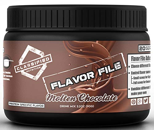 Molten Chocolate Powder Instant Flavored Drink Mix – 20 Servings Of Sugar Free, Dairy Free & Zero Carbs Sweetener For Protein Shake Flavoring, Coffee & More. 5 Calories Per Serving, 4oz Flavor File