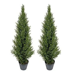 TWO Pre-potted 4' Artificial Cedar Topiary Outdoor Indoor Tree 107