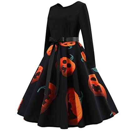 feiledi Trade Disfraz de Calabaza de Halloween, Vestido de Manga Larga con impresión Vintage,