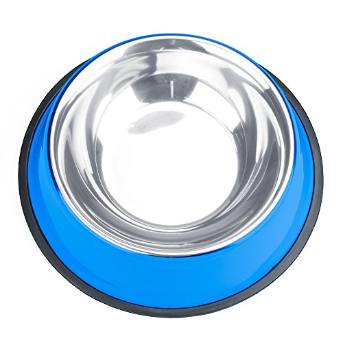 Product image of Weebo Pets Blue No-Tip No-Slip Stainless Steel Bowl (24oz. Bruiser)