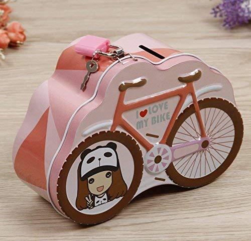 JINGB パーソナリティ 自転車 貯金箱 子供 誕生日 ギフト ブリキ製貯金箱 (ピンク) デスクトップ 装飾 マネーボックス   B07P9DGKRL