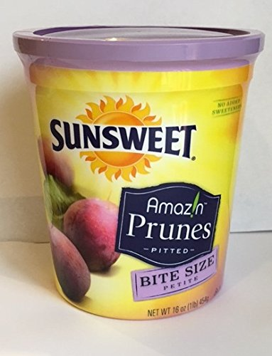 Sunsweet Amazin Prunes Pitted 16oz cans (Pack of 6) Bite Size by Sunsweet