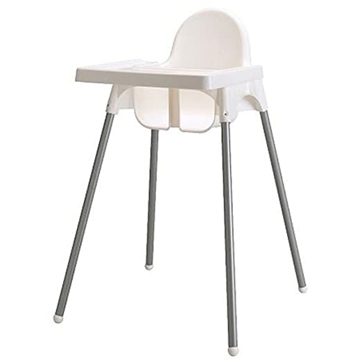 Ikea's ANTILOP Highchair with safety belt, white, silver color and ANTILOP Highchair white