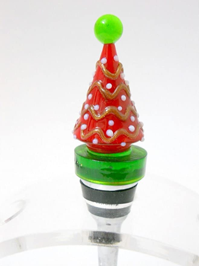 Amazon.com: New Glass Christmas Tree Wine Stopper Cork Red White Ornaments Stainless Steel: Kitchen & Dining