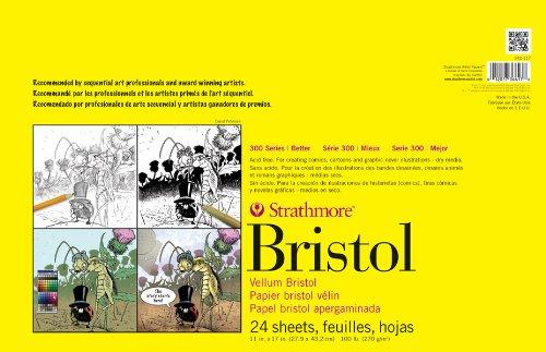 "Strathmore STR-342-117 24 Sheet Vellum Bristol Pad, 11 by 17"""