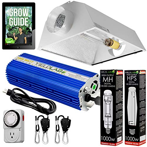 Yield Lab Horticulture 1000w HPS MH Grow Light Cool Hood Reflector Kit Easy Setup Full Spectrum System for Indoor Plants and Hydroponics - Free Timer and 12 Week Grow Guide DVD
