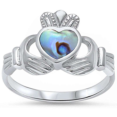 - Oxford Diamond Co Abalone Shell Heart Irish Claddagh .925 Sterling Silver Ring Sizes 7