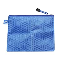 Uxcell PVC Lining Hexagon Printed Zip Up A5 Paper File Bag, 23cm Long, Blue