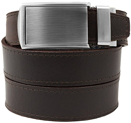 Top Grain Brown Leather Belt with Silver Buckle - Brown Leather Belt Silver Buckle