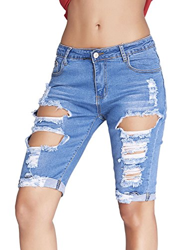 Dokotoo Womens Casual Denim Destroyed Bermuda Shorts Jeans Medium Blue -