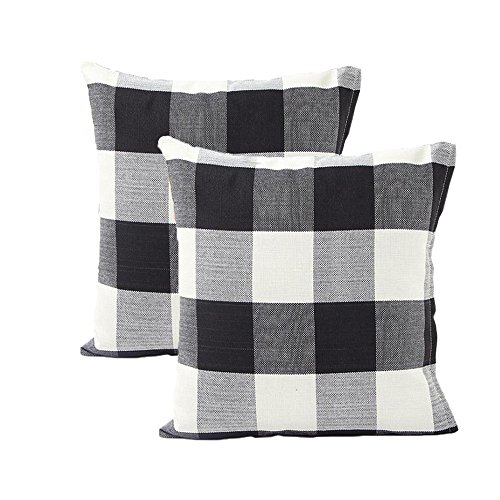 Throw Pillow Covers Fabric - Tealp Plaid Throw Pillow Cover Linen Cotton Decorative Pillow Case Home Sofa Cushion Set,2-Pack Square Design (18x18 inch),Black and White