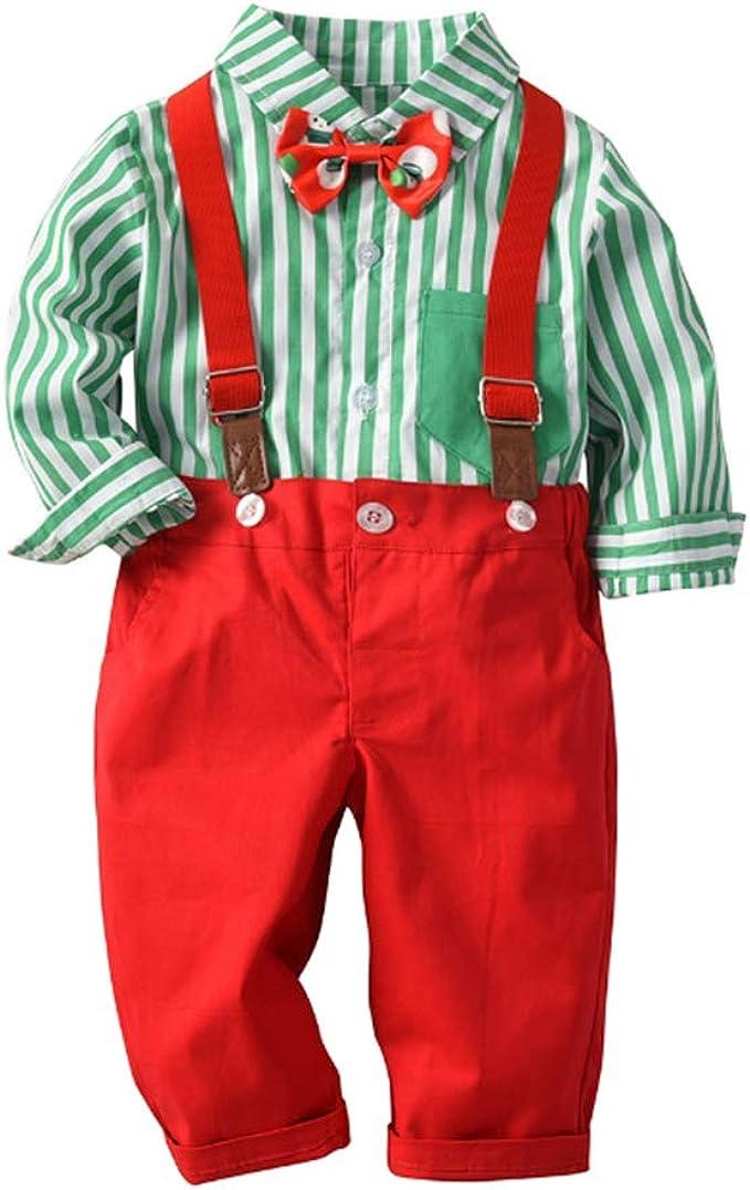 ZOEREA 2 Piezas Conjunto de Ropa de Bebé Niño Pantalones + Camisa de Rayas Pajarita Impresión Conjunto de Traje de Caballero para Niños: Amazon.es: Ropa y accesorios