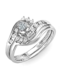 0.30 Carat (ctw) 14K White Gold Round Diamond Ladies Bridal Engagement Ring Matching Band Set 1/3 CT