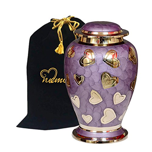 (Lavender Hearts Cremation Urn - Purple & Silver Heart Urn - 100% Handcrafted Solid Brass Heart Urn for Human Ashes - Affordable Large Urn with Free Bag)