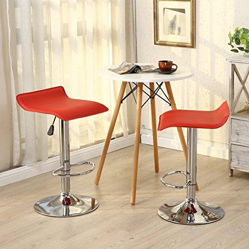 Allura Pair Bombo Chair Modern Bar Stools PU Leather Adjustable Hydraulic Swivel Seat Stool Pub Cafe Coffeehouse Kitchen Dinning Chair Barstool | Red
