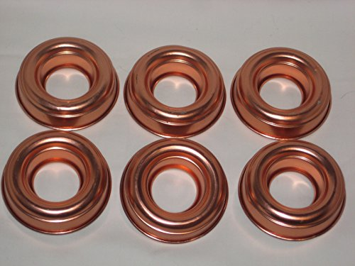 Set of 6 - Coppertone Aluminum Ring Jell-O Mold Cake Baking Pan (Aluminum Ring Mold)