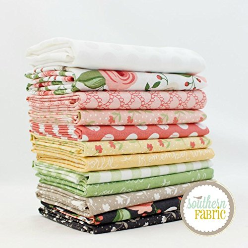 Farmers Daughter Fat Quarter Bundle (12 pcs) - Lella Boutique - Moda 18 x 21 inches (45.72cm x 53.34cm) fabric cuts DIY quilt fabric (Fq Quilt Fabric)