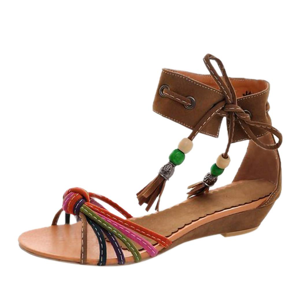 b9f78653927 Amazon.com  AIMTOPPY Women Bohemia Style Sandals Summer Sexy Ankle Tassel  Flats Wedge Shoes Open Toe Single Strap Low Heel Sandals  Computers    Accessories