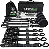 RHINO USA Ratchet Straps Heavy Duty Tie Down Set, 5,208 Break Strength - (4) Heavy Duty 1.6
