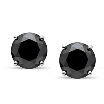 5450bbf15 Image Unavailable. Image not available for. Color: JewelMore 1/2 CT Black  Diamond Stud ...