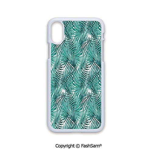 Phone Case Compatible with iPhone X Black Edge Fresh Tropical Exotic Island Palm Tree Leaves in Jungle Abstract Watercolor Decorative 2D Print Hard Plastic Phone -