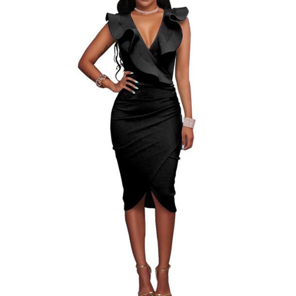 TALLA XL. Hibote Vestidos a Media Pierna con Volantes sin Mangas de la Fiesta de Las Mujeres Negro XL