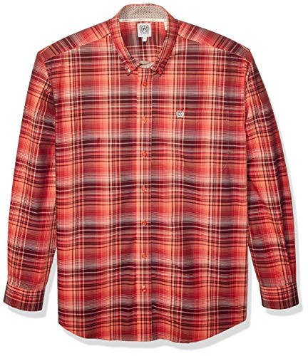 Hundreds Plaid Button - Cinch Men's Classic Fit Long Sleeve Button One Open Pocket Plaid Shirt, Brandy Multi L