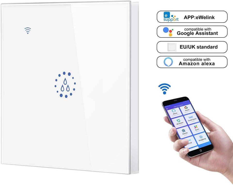 FreeLeben Chauffe-Eau Intelligent Interrupteurs Noir T/él/écommande Vocale WiFi 20A Accueil Panneau Mural Tactile pour Chaudi/ère Contr/ôleur de Minuterie Compatible avec  Alexa//Google Assistant