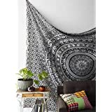 Craftozone Black White Bohemian Mandala Tapestry Home Decor, Hippie Wall Hanging Bedspread Craftozone (Single (84x55 inch)) (84x55 inch, Black White)