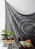 Craftozone Black White Bohemian Mandala Tapestry Home Decor, Hippie Wall Hanging Bedspread Craftozone