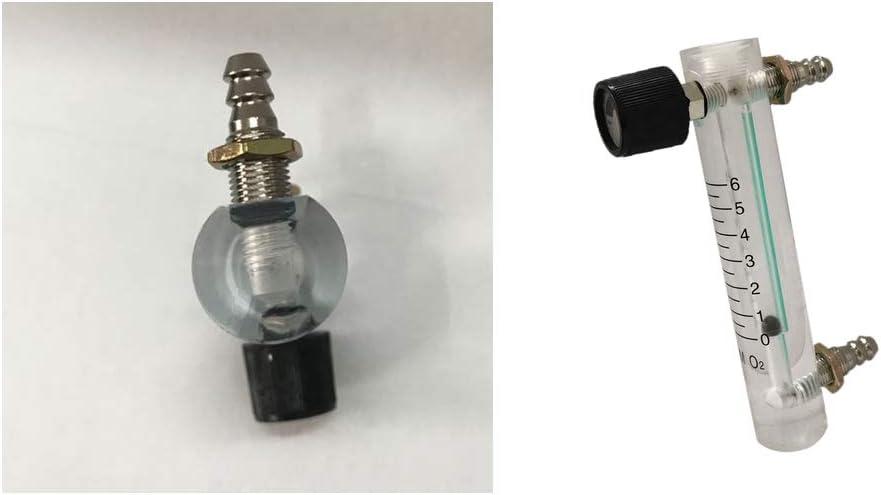 2 Piezas Caudalímetro Medidor de Flujo de Oxígeno con Válvula de Control para Oxígeno Aire