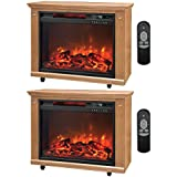 Lifesmart 3 Element Quartz Infrared Electric Portable Fireplace Heaters (Pair)