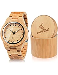 BOBO BIRD D27 Mens Bamboo Wooden Watch Numeral Scale Large Face Quartz Watch Lightweight Casual Sports Watches...