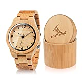 BOBO BIRD D27 Men's Bamboo Wooden Watch Numeral Scale Large Face Quartz Watch Lightweight Casual Sports Watches with Luminous Night Silver Pointer Gift Box